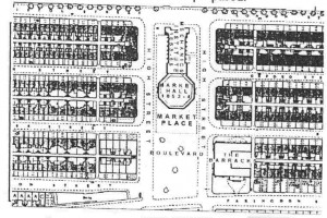 Site plan of the Mechanics' in 1855. An open air market was held on the Boulevard adjacent to the covered Market Hall.